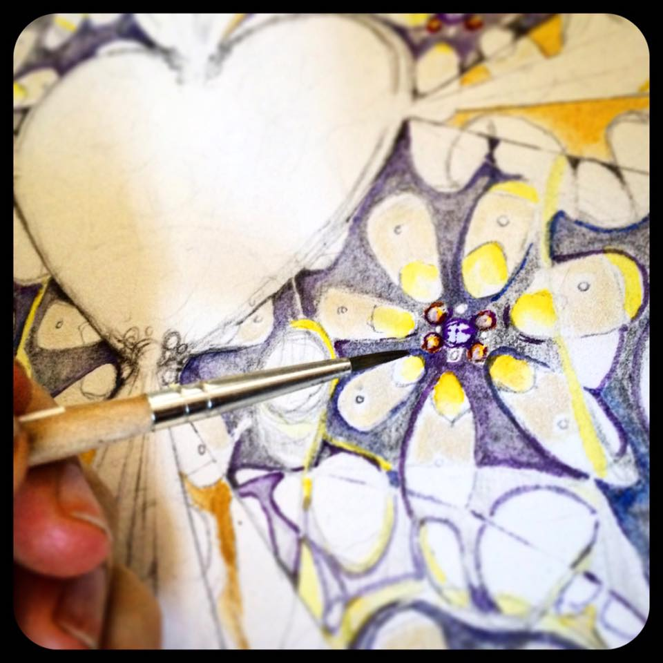 Day 8: Next up in the layering process: adding touches of blue and lavender to increase tonal depth and definition...