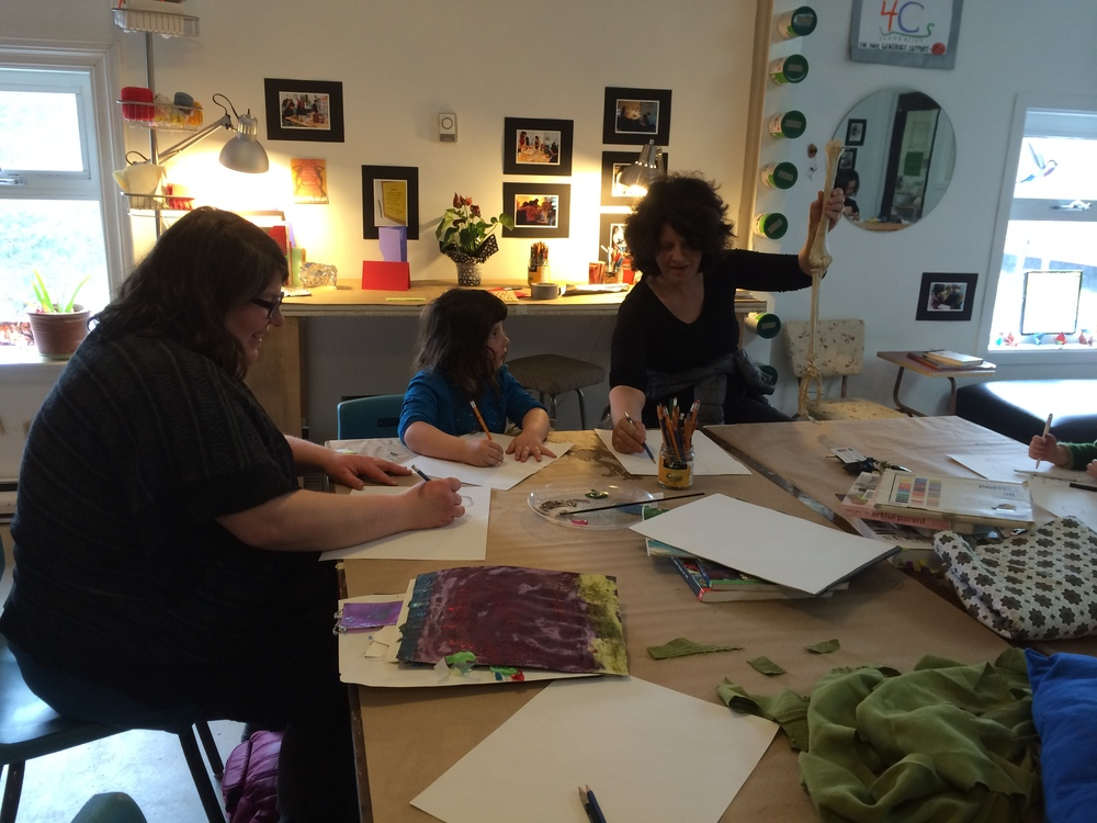 Artist Renee Forrestall shares her knowledge of anatomy with Open Studio artists.