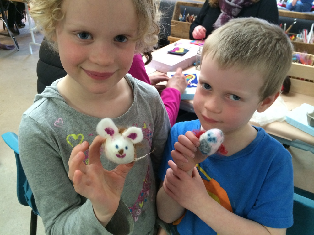 Wet felting and needle felting wee mice, inspired by an amazing mouse book!
