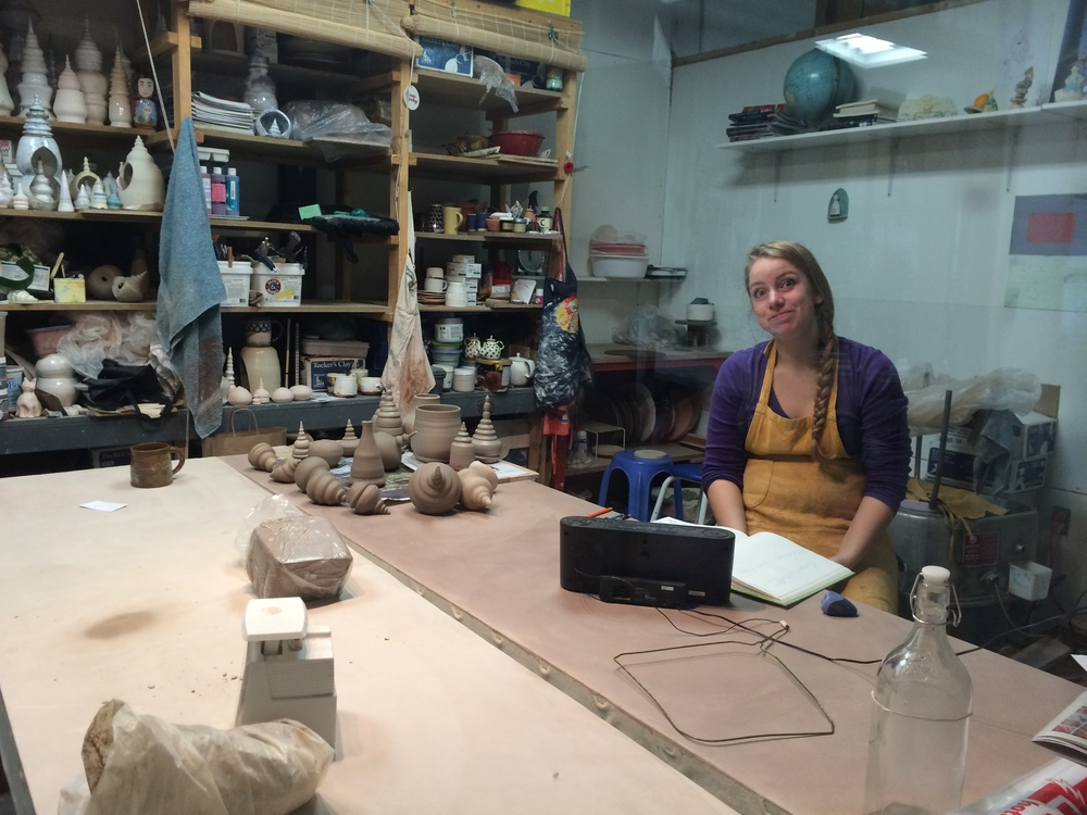 Studio ceramic artist, Christine, working during Open Studio.