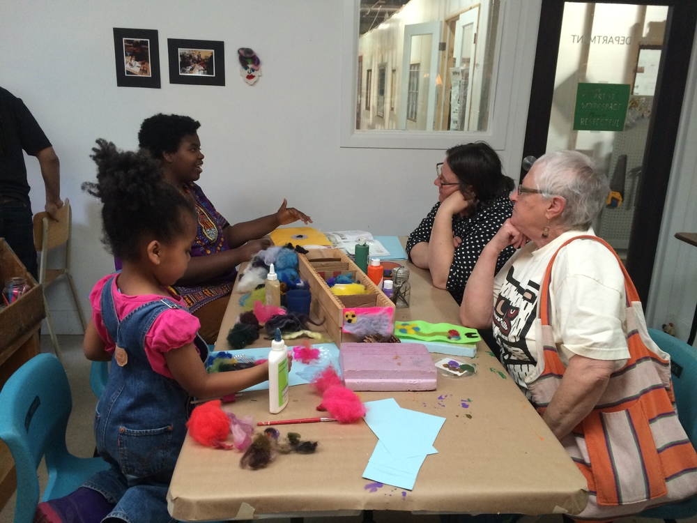 Great discussions always at the felting table.