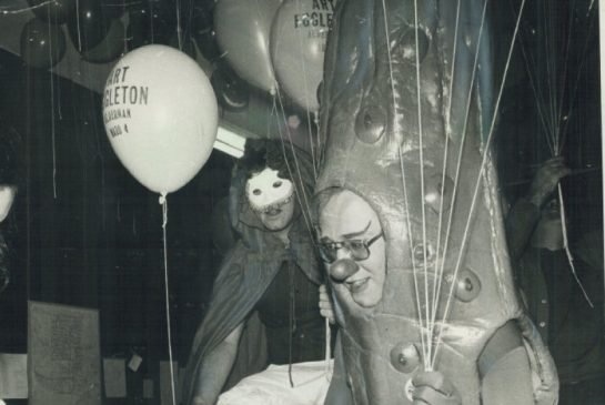 Toronto Alderman Art Eggleton campaigning as a pickle in 1978.