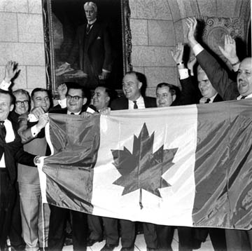 The Stanley Flag, following its adoption by parliament.