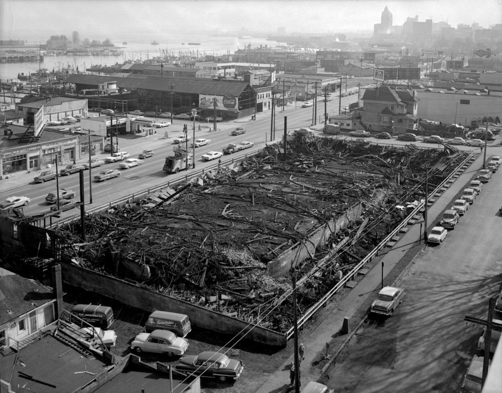 Shortly after the fire of March 18, 1960. (Vancouver City Archives Photo)
