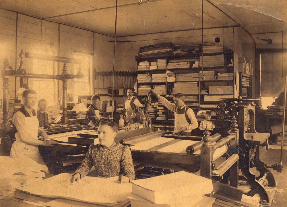 Matilde Roedde at work in the family bookbindery. (Vancouver Archives Photo)
