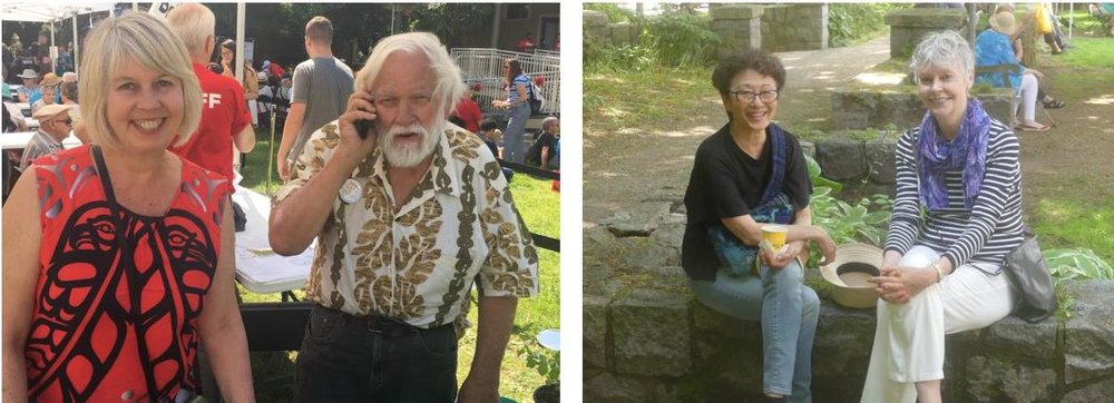 Vancouver City Councillor Adriane Carr and husband Paul George were among the West Enders out for a sunny day at the Strawberry Festival, along with WE Arts' Satomi Hirano and Katherine Hume.