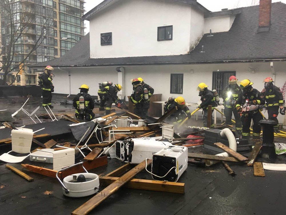 More than 50 Vancouver firefighters were called to the scene of a fire at Bikes and Blades on Denman.