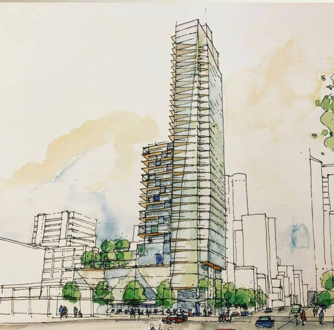 The planned 43-story condo development.