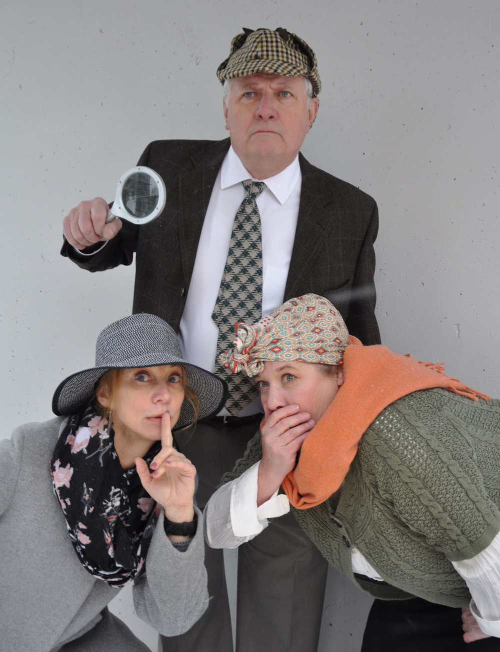 From left, Annabel Kershaw, Keith Martin Gordey, and Tanja Dixon-Warren appear in Mystery at Greenfingers. (Ellie O'Day Photo)