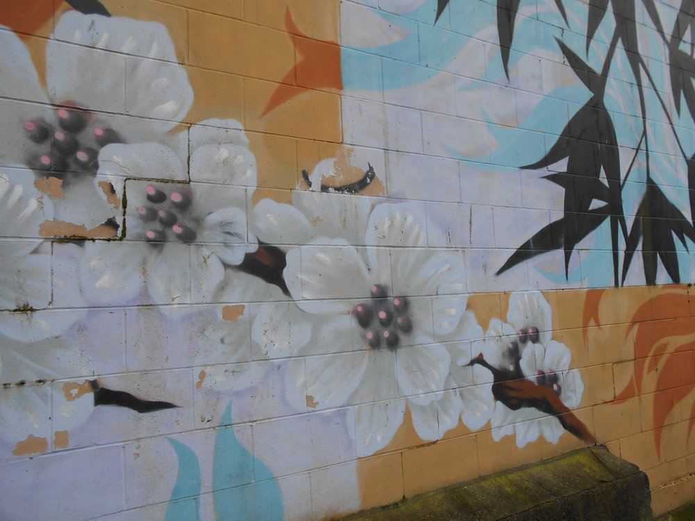 Floral mural at The Red Umbrella.