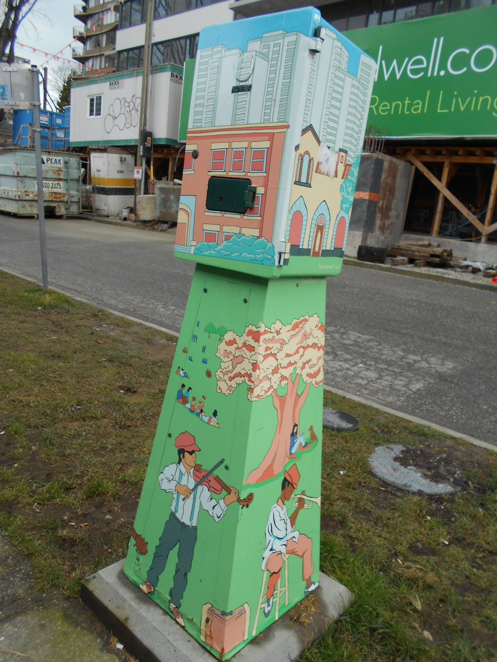Colourful electrical box at Bidwell and Davie.