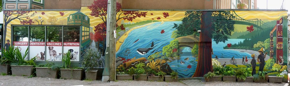 "Kim Hunter's mural West End ""Salish Sea Welcome"" mural in Ellihu Lane, just west of Denman."
