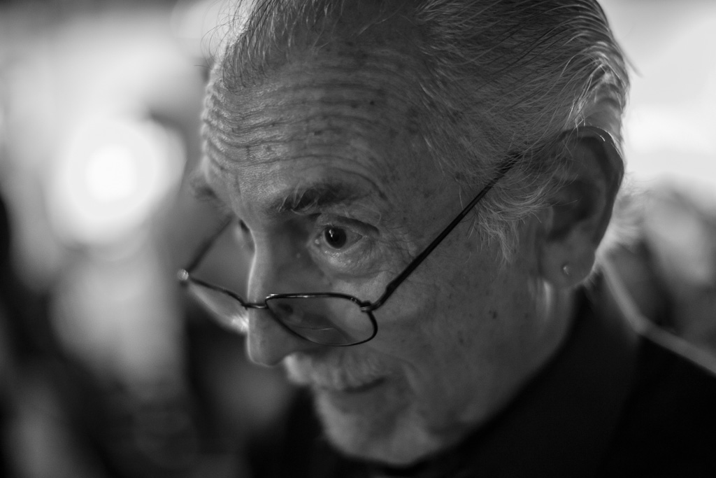 The great jazz and documentary photographer Herb Snitzer at The Studio@620 Wednesday night May 29th, 2013. After Herb's presentation he was kind to spend a few minutes chatting with me and my friends and fellow photographers Joseph Gamble and Chris Odom. Here, Herb is imitating the stare Miles Davis once cast in Herb's direction when Davis, during a live performance, turned to face the rear of the stage and noticed Herb back there taking pictures. Davis had made clear only moments before that no photographers were to shoot from back stage. As Herb role played this story for me Wednesday night I could not resist raising my camera and for a moment becoming the pesky photographer that Herb was to Davis.