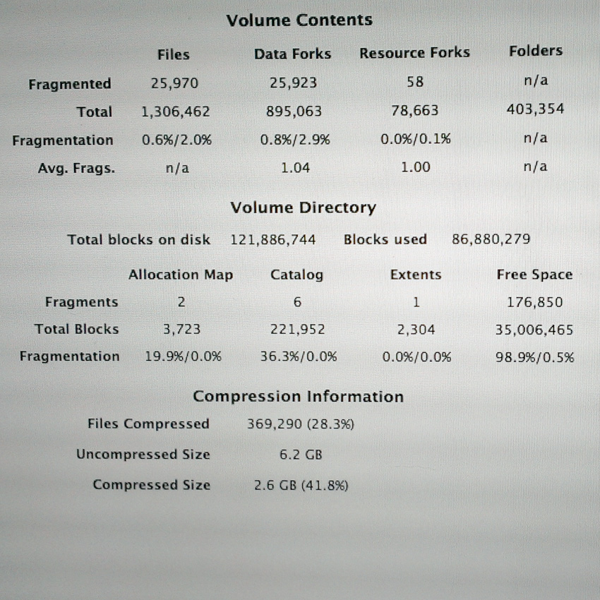 This is iDefrag's stats view of my early 2008 MacBook Pro hard drive.