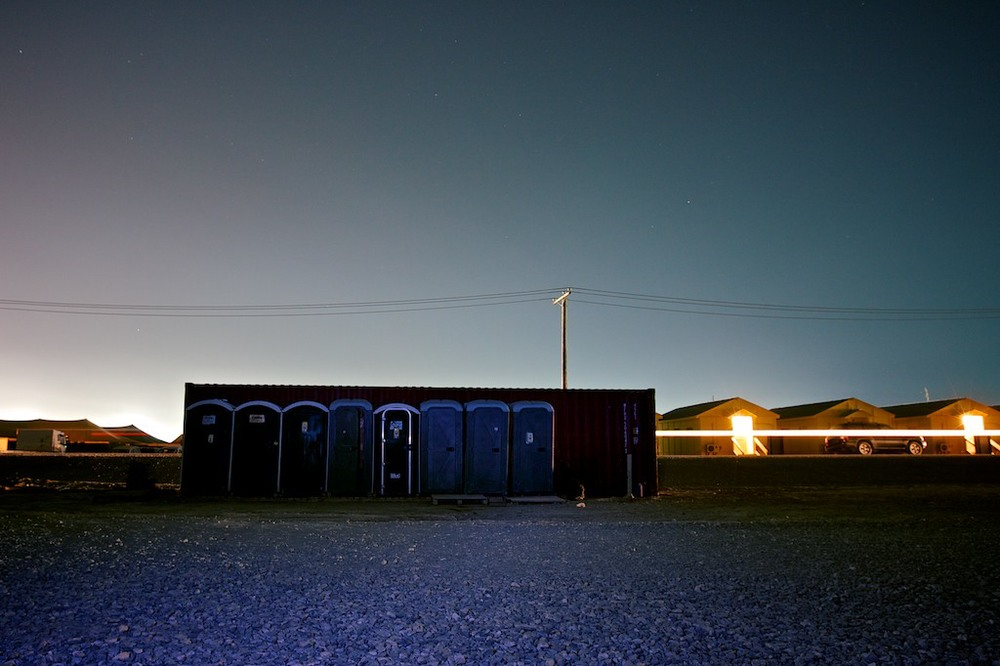 Long exposure of portable toilets on Bagram Airfield, Afghanistan, 2010.