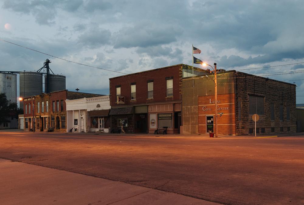 Main Street at 7 in the morning. Lucas, Kansas. 2014.