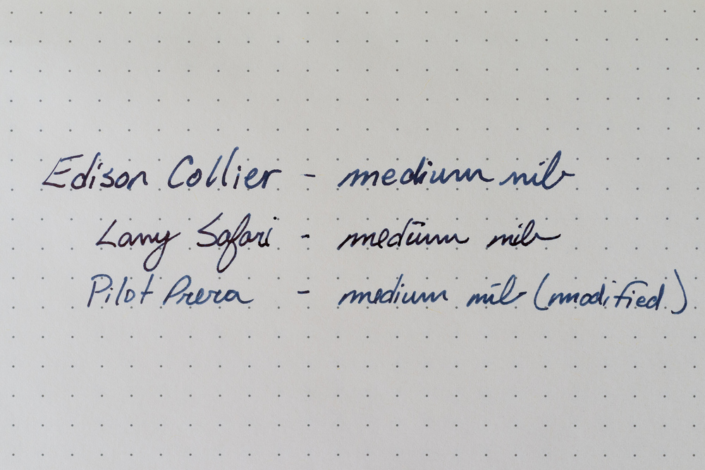 Edison Collier, Lamy Safari, and Pilot Prera writing samples. All have medium nibs and all are filled with Pelikan's Edelstein Tanzanite ink. The paper is from a Rhodia Webnotebook, which is a 90g paper made by Clairefontaine.