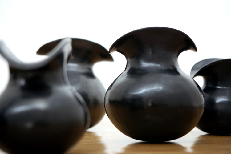 Water jugs made from black clay, which is the signature style ofSan Bartolo Coyotepec, a town in Oaxaca.