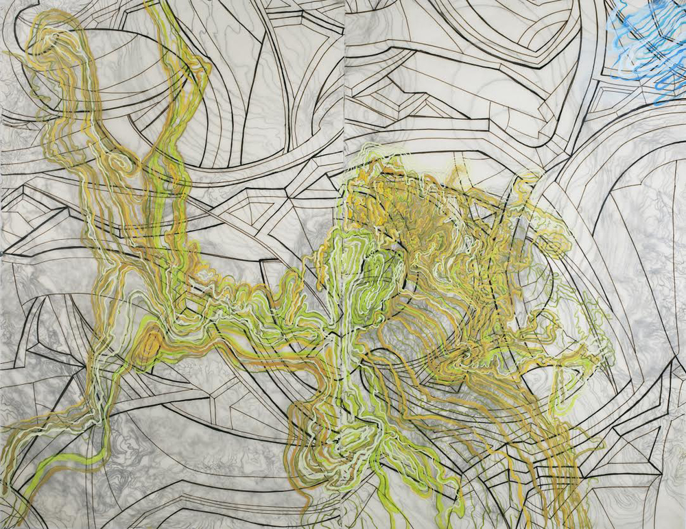 "French Curve I,  2011   Oil paint, wax, kozo shi paper, ink, in two layers   38.5"" X 48.5"""
