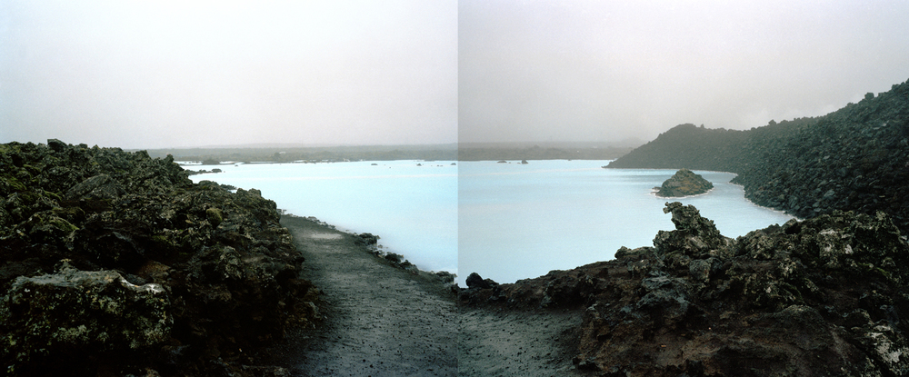 "Blue Lagoon,  2006   Archival digital pigment print on Thai Mulberry, Edition of 6   27"" X 65"""