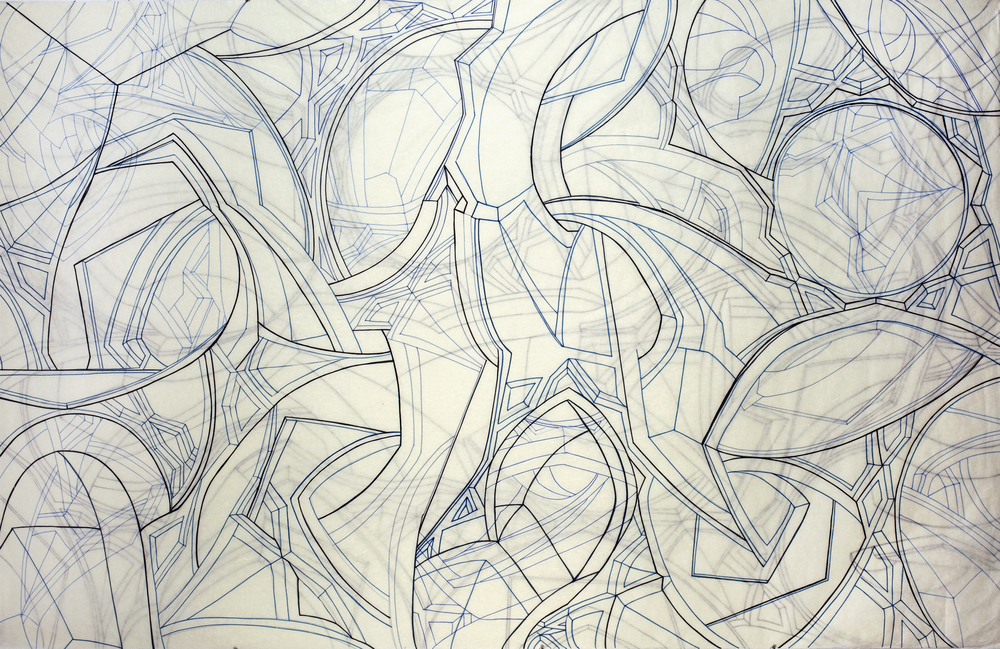 "Untitled Drawing,  2012   Calligraphy pen on kozo shi in two layers   47"" X 72.5"""