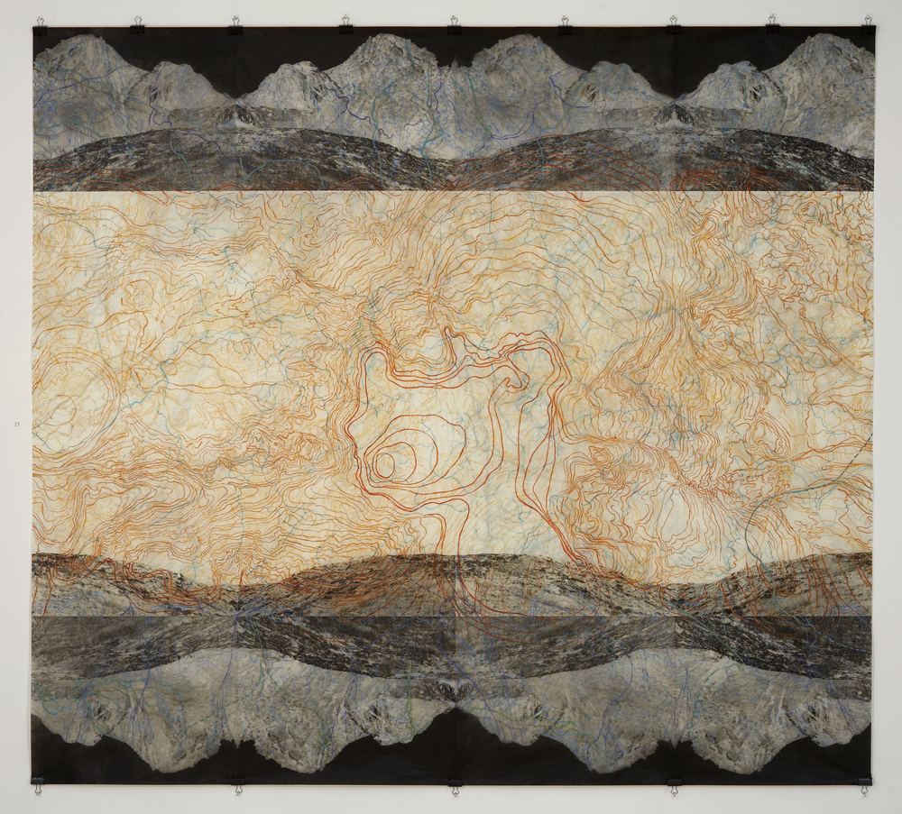 "Geothermal Topography III,  2007   Photogravure on kozo shi, digital pigment print, oil paint and wax in layers   72"" X 79"""