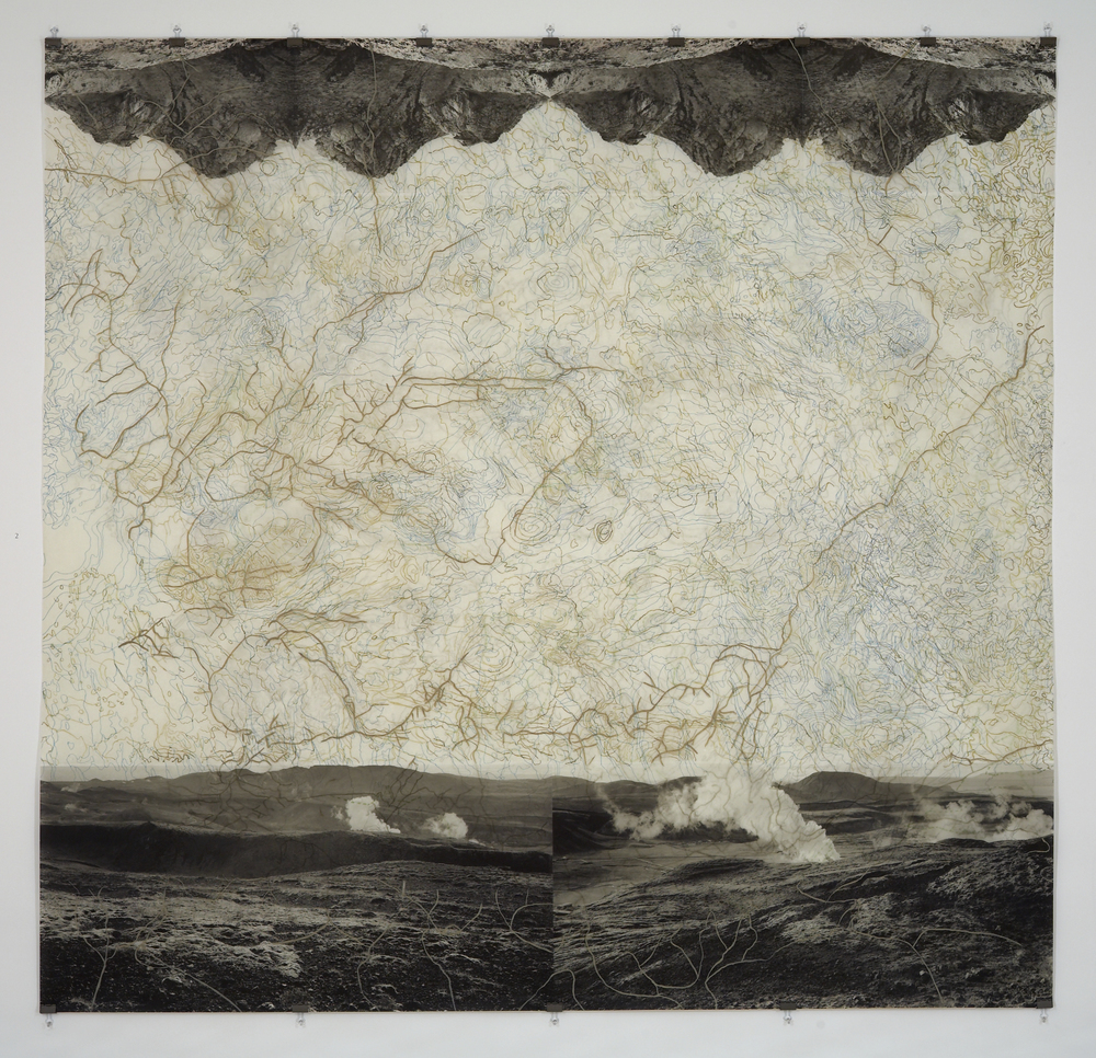 "Geothermal Topography II,  2007   Photogravure on kozo shi, digital pigment print, oil paint and wax in layers   79.5"" X 82.5"""