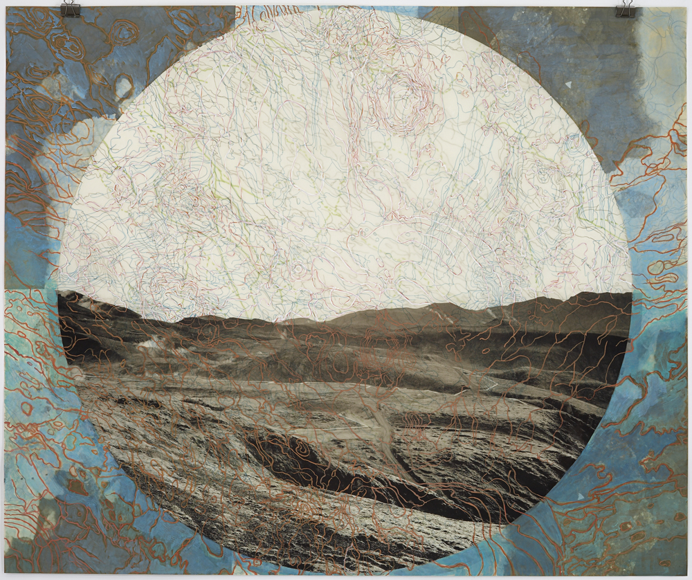 "Geothermal Topography IV,  2007   Photogravure, digital pigment print, oil paint and wax in layers   42"" X 45"""