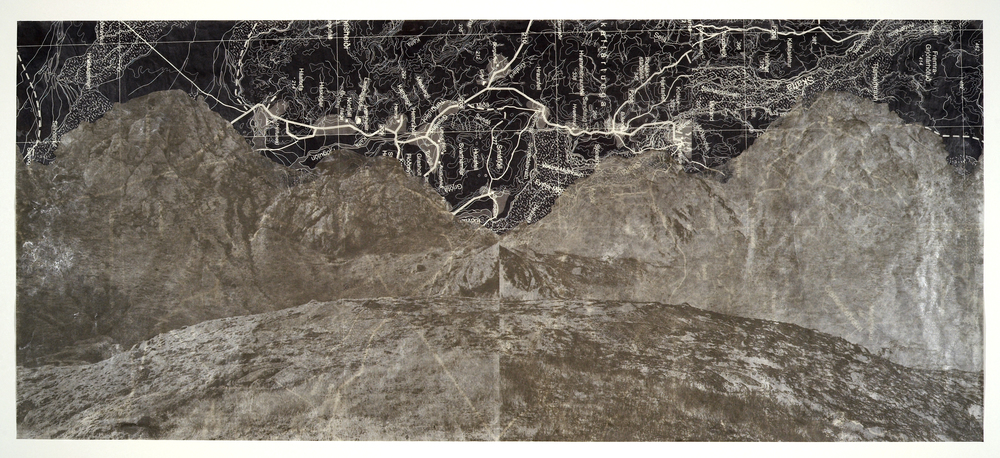"Mirror Mountains,  2007   Photogravure, digital pigment print, wax, in layers   18"" X 50"""
