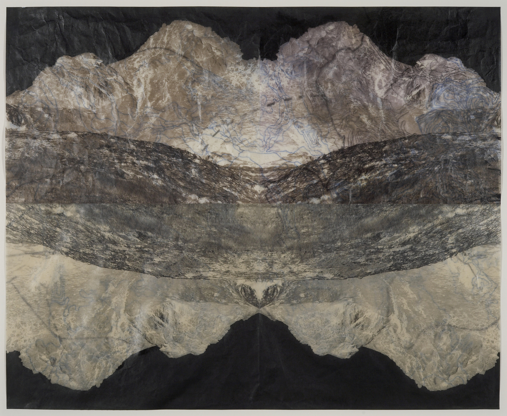 "Pyroclasitite Negative,  2006   Digital pigment print on gampi, oil paint and wax in layers   22"" X 27"""
