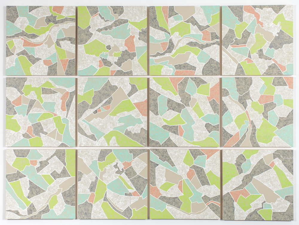 "Grid III,  2015   Gouache on paper mounted on panel, 12 - 16"" X 16"" panels   49"" X 66"""