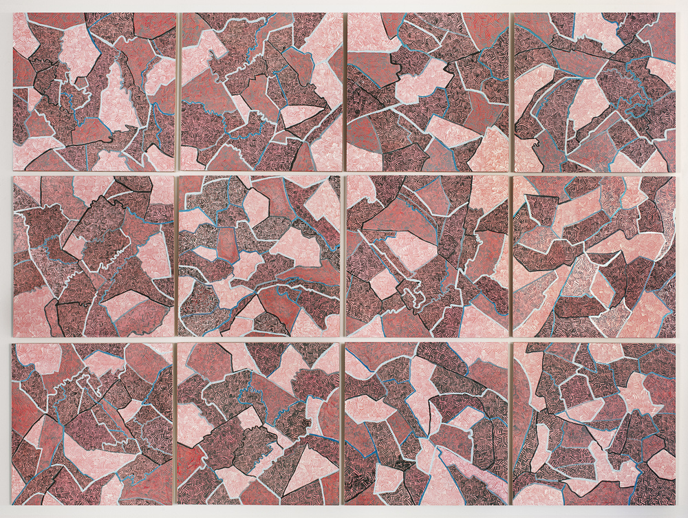 "Grid IV,  2015   Oil on paper mounted on panel, 12 - 16"" X 16"" panels   49"" X 66"""