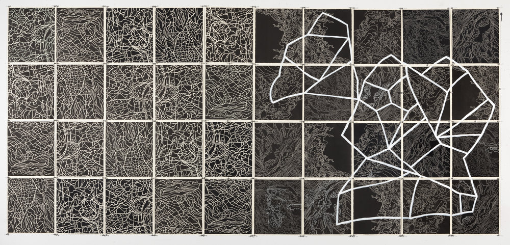 "Quasars and Pulsars II,     2 016  Intaglio sugar lift, line etching, surface roll, paint, 40 - 12.25"" X 10.75"" segments 50"" X 107.5"""