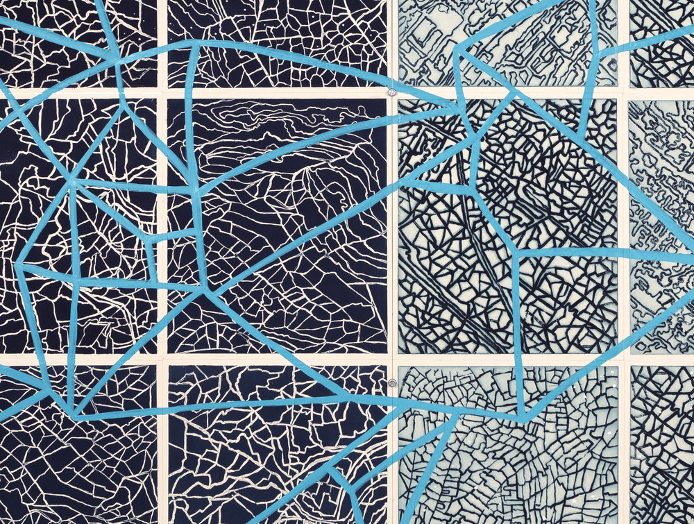 Artificial Horizon,     2 017   Detail - intaglio sugar lift, line etching, surface roll, paint