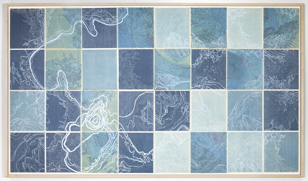 "Celestial Navigation,     2 016   Intaglio sugar lift, line etching, surface roll, digital map on kozo-shi, paint, 32 - 12.5"" X 10.75"" segments 50"" X 87"""