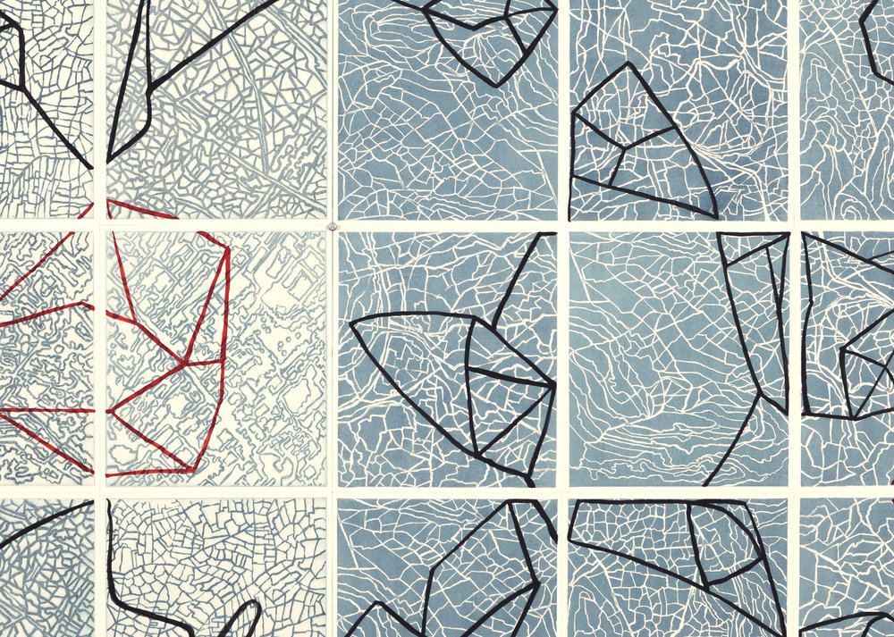 Connect the Dots,     2 017   Detail - intaglio sugar lift, line etching, surface roll, paint