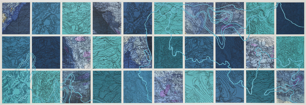 """Aqua Lucayan,2 017    Intaglio sugar lift, line etching, ghost print, digital map on kozo-shi, paint and chine-collé 40"""" X 115"""""""