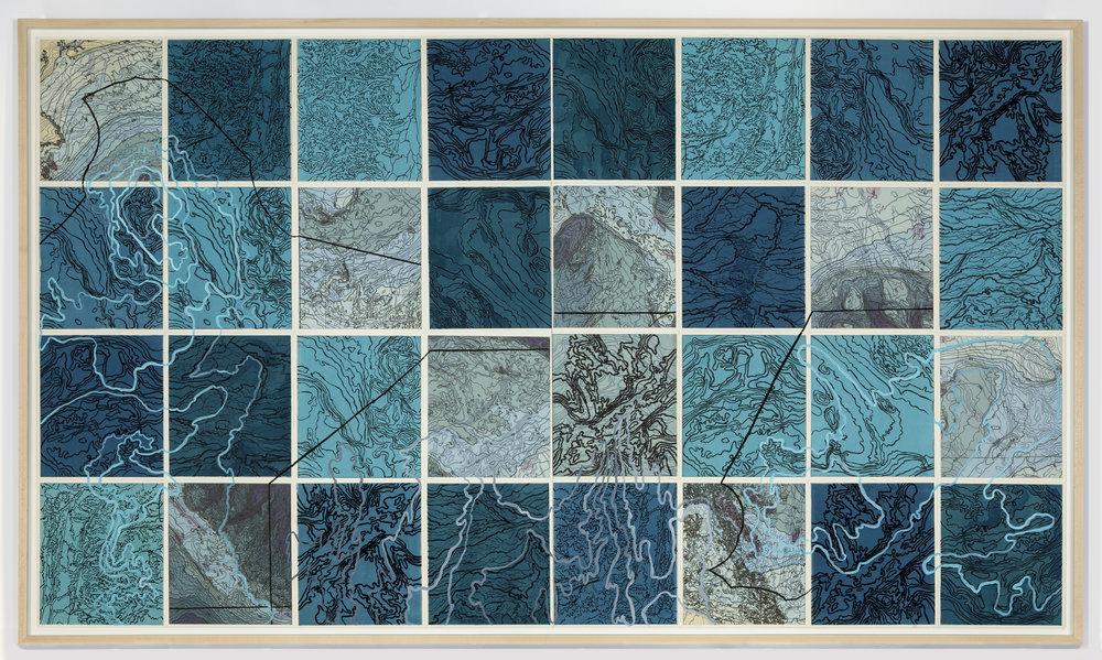 "Parvart/Sagar,    2 017   Intaglio sugar lift, line etching, surface roll, digital map on kozo-shi, paint,32 – 12.25"" x 10.75"" segments 50"" X 89"""