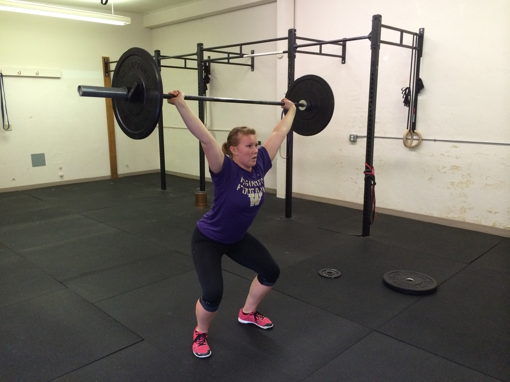 Power Snatch//receive the barbell in a partial squat, anything above parallel would be considered a power snatch.