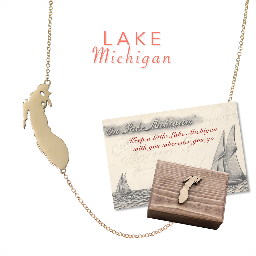 lake michigan necklace on the map by kerry gilligan