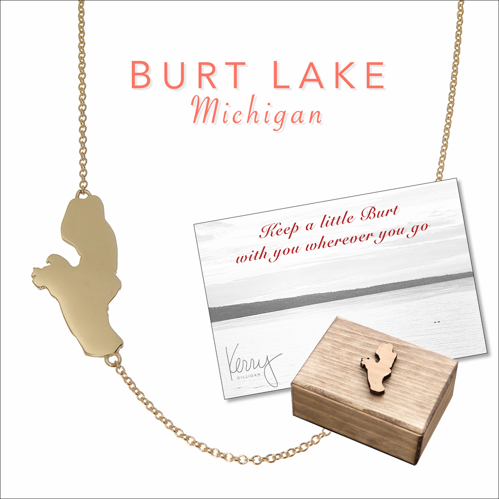 burt lake necklace on the map by kerry gilligan
