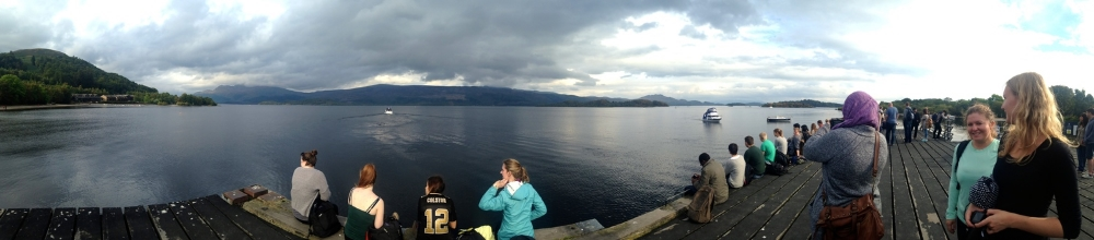A panoramic shot of Loch Lomond