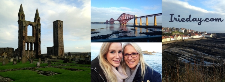 St. Andrews cathedral ruins, Queensferry bridges, my mom and I taking a coastal selfie by the Old Course in St. Andrews, and the fishing towns of Fife.