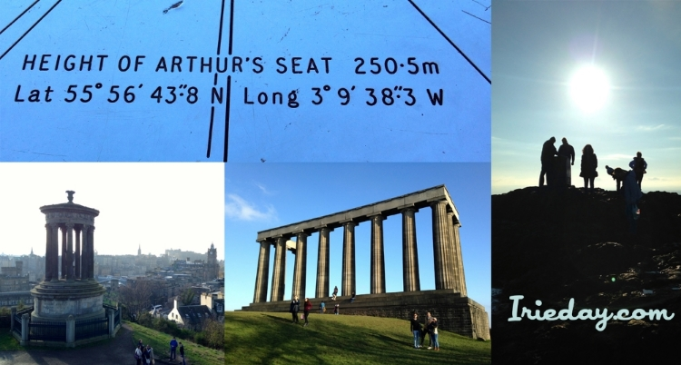 Top: The plaque at the highest most point of Arthur's Seat. Left to right: The view from Calton Hill, the National Monument, and people on top of Arthur's Seat.