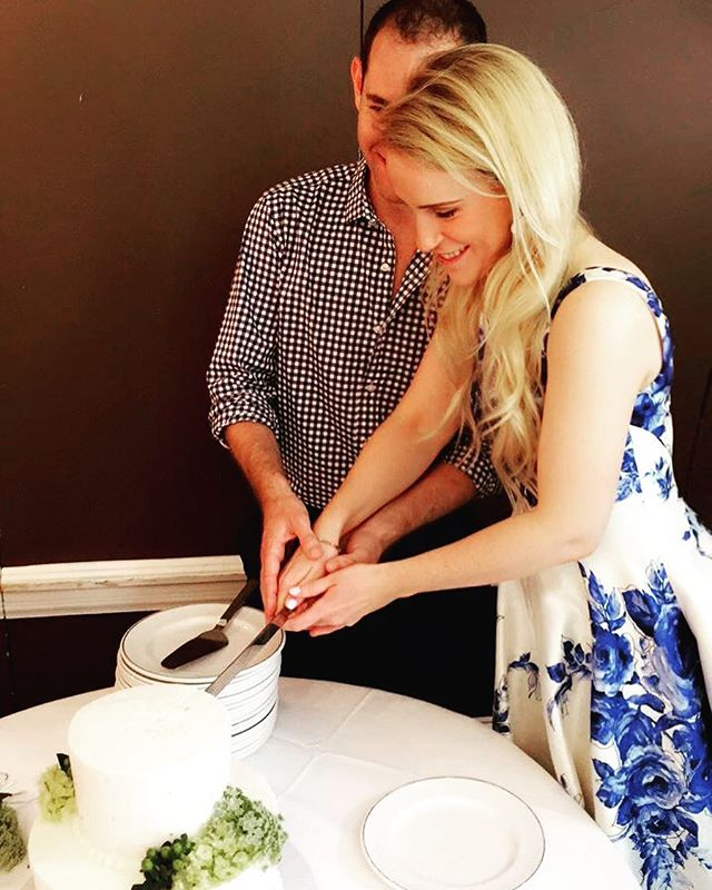 So much to process and so many more amazing photos to come, but after the best bridal shower ever -- just wanted to share this special, honest, candid moment with my most favorite person in the whole wide world. This is a picture of my future husband and I cutting a cake and realizing we're really getting married! And we're psyched about it! #104daystogo #bestfriend #imperaTWO #obsessedwithyouandSERIOUSLYcantwaitforforever