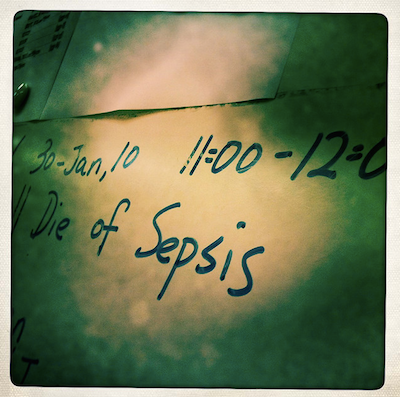 "Chan, D. ""we will die of sepsis"" https://www.flickr.com/photos/denn/4311117490/in/photostream/ Creative Commons License ShareAlike 2.0"