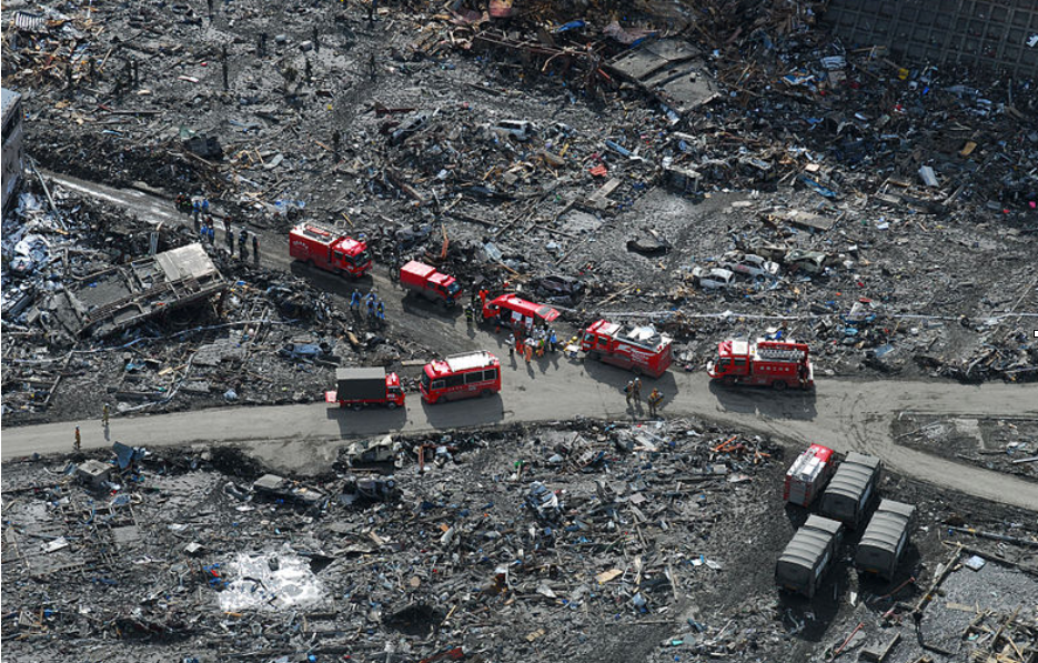 Disaster relief crews after Japan's 2011 earthquake and tsunami