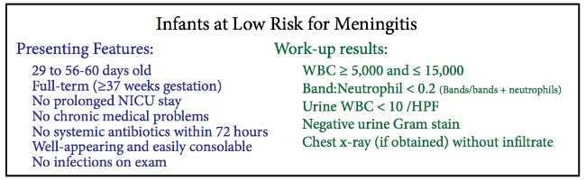Table 1: Features and work-up results of infants who are at low risk of meningitis