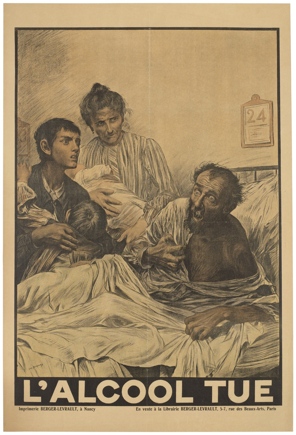 'Alcohol Kills' - An alcoholic man with delirium tremens on his deathbed, surrounded by his terrified family. Iconographic Collections Keywords: Eugène Burnand. Wikipedia. Creative Commons 4.0