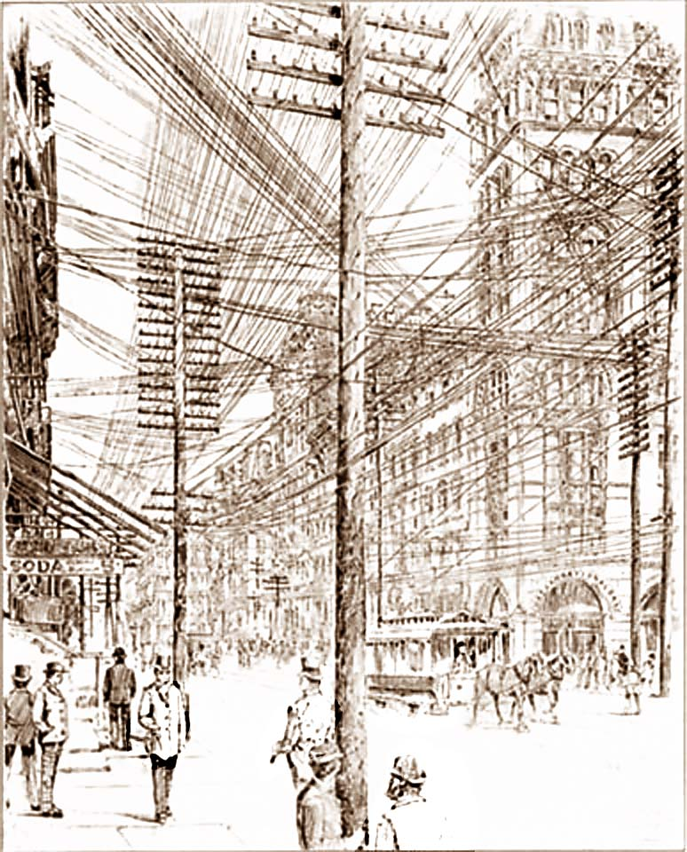 New York City Power Lines in the 1890s. There used to be a lot more exposures... Public domain CC - Original at - https://upload.wikimedia.org/wikipedia/commons/b/b5/New_York_utility_lines_in_1890.jpg